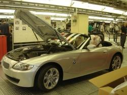 A BMW Z4 on the assembly line at Spartanburg
