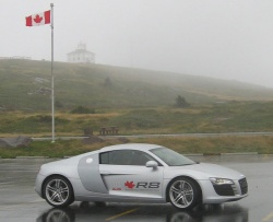 Audi R8 at the start of the R8 Trans-Canada Performance Tour, in Newfoundland