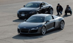Audi R8 (foreground), winner of the Prestige Car over $75,000 and Most Coveted Car awards at AJAC's 2008 Testfest event