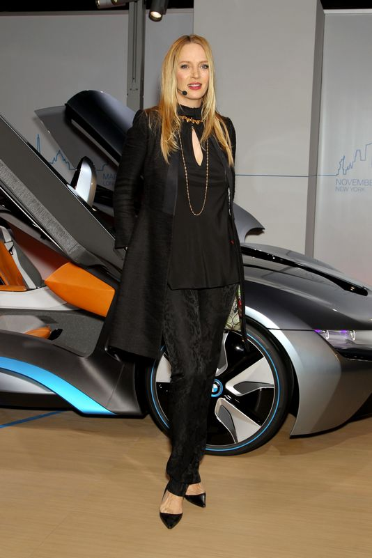 Uma Thurman with the BMW i8